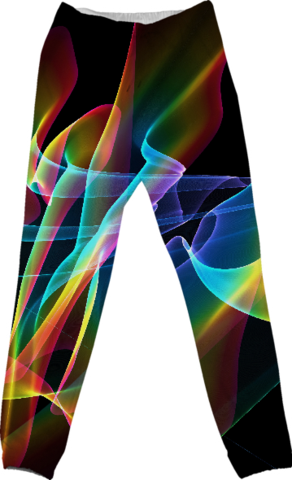 Aurora Ribbons, Abstract Rainbow Veils Cotton Pants