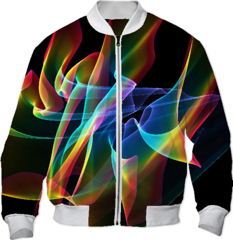 Aurora Ribbons, Abstract Rainbow Veils Bomber Jacket