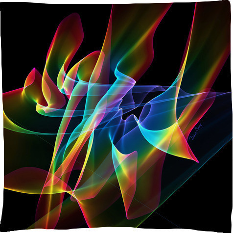 Aurora Ribbons, Abstract Rainbow Veils Scarf