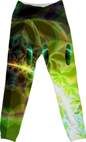 SDawn of Time, Abstract Lime & Gold Emerge Cotton Pants
