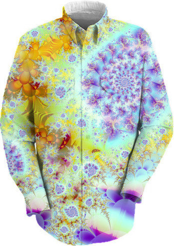 Golden Violet Sea Shells, Abstract Fractal Ocean Work Shirt