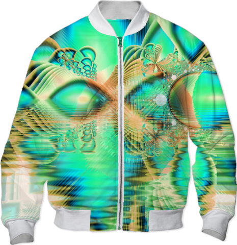 Golden Teal Peacock, Abstract Copper Crystal Bomber Jacket