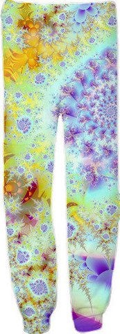 Golden Violet Sea Shells, Abstract Fractal Ocean Sweatpants