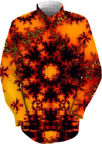 Mystical Golden Fire Lake, Abstract Baroque Illusion Work Shirt