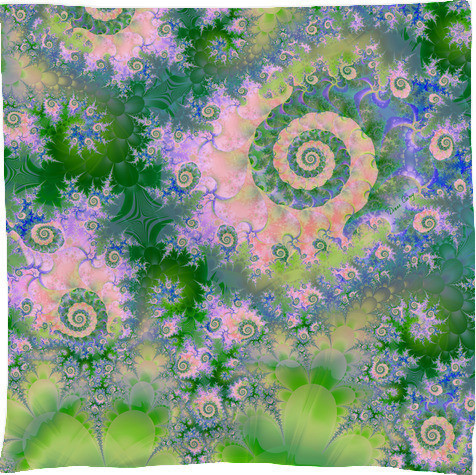Rose Apple Green Dreams, Abstract Water Garden Scarf