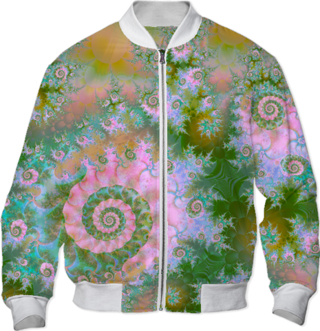 Rose Forest Green, Abstract Swirl Dance Bomber Jacket