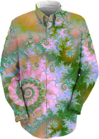 Rose Forest Green, Abstract Swirl Dance Work Shirt