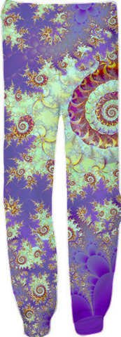 Sea Shell Spiral, Abstract Violet Cyan Stars Sweatpants