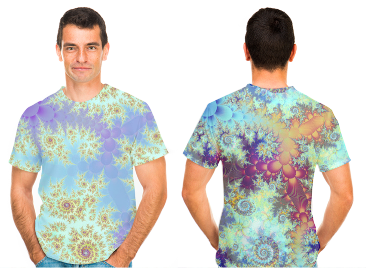 Spirals of Light, Abstract Violet Blue (front), Cactus, Abstract Rainbow Desert (back) T-Shirt