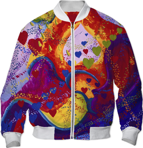 Underground, The Power of Love, Abstract Crimson Iris Hearts Bomber Jacket