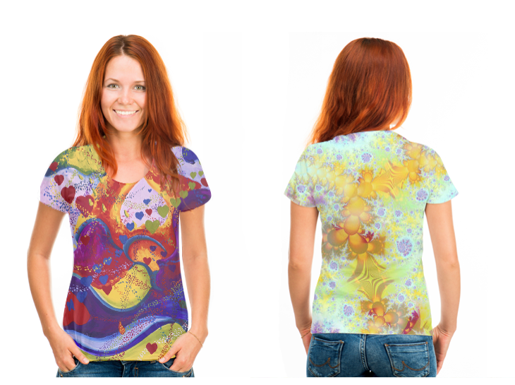 Underground, The Power of Love, Crimson & Iris Hearts (front), Golden Violet Sea Shells, Abstract Fractal Ocean (back) T-Shirt