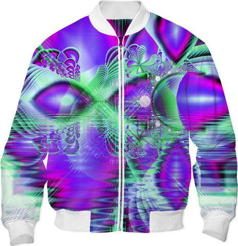 Violet Peacock Feathers, Abstract Crystal Mint Green Cool Jacket