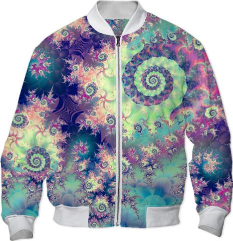 Violet Teal Sea Shells, Abstract Underwater Forest Bomber Jacket