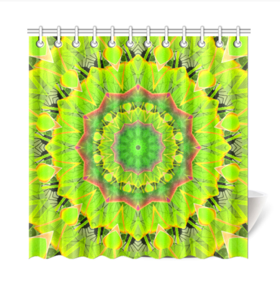 Golden Green Foliage Ferns Abstract Summer Days Shower Curtain