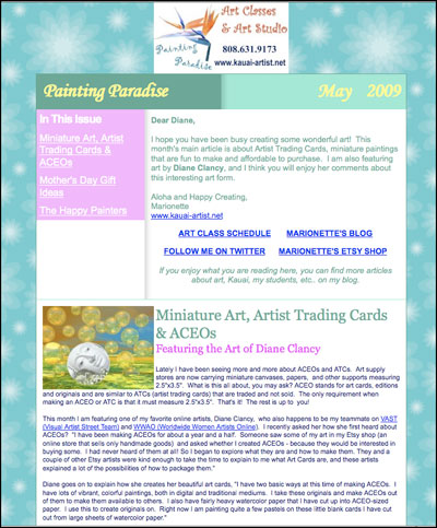 Painting Paradise Newsletter /></p> <p align=