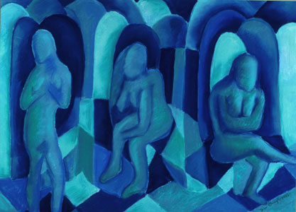 Reflections in Blue I, 3 figures in blue - they look like angels with the arches behind them