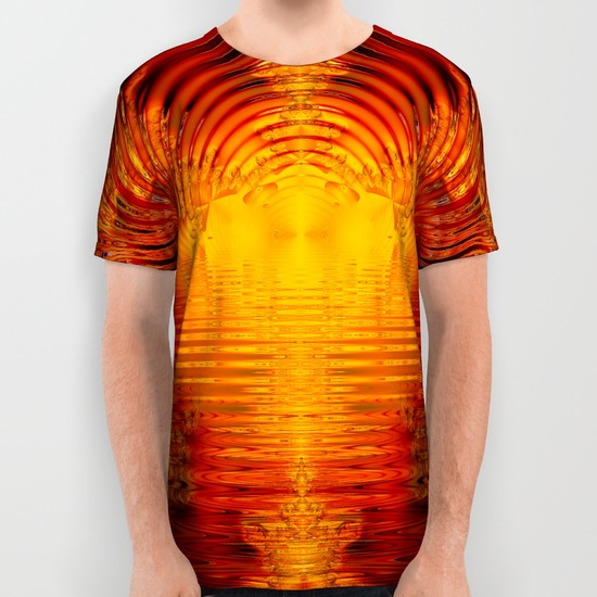 Abstract Fractal Golden Red Tunnel of Light All Over Print Shirt