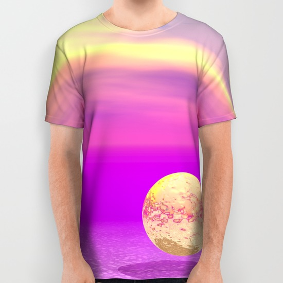 Adrift, Abstract Gold Violet Ocean All Over Print Shirt