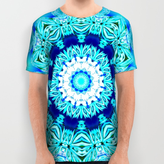 Blue Ice Glass Mandala, Abstract Aqua Lace All Over Print Shirt