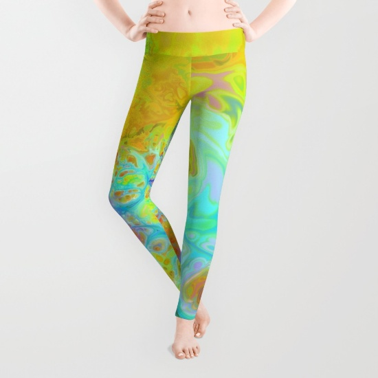 Emerging Galaxies, Abstract Teal & Lime Currents Leggings
