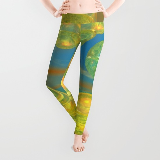 Golden Days, Abstract Yellow and Azure Tranquility Leggings