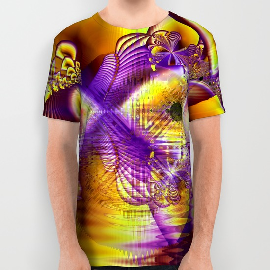 Golden Violet Crystal Palace, Abstract Cosmic Explosion All Over Print Shirt