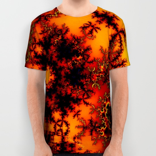 Mystical Golden Fire Lake, Abstract Fractal Baroque Illusion All Over Print Shirt