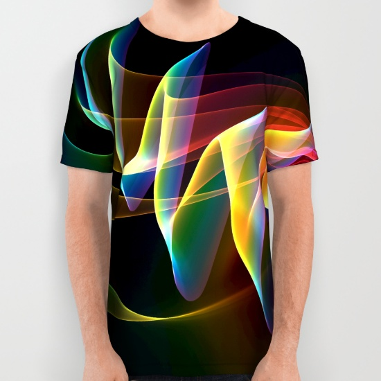 Northern Lights, Abstract Fractal Rainbow Aurora All Over Print Shirt