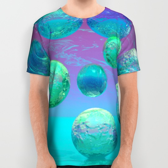 Ocean Dreams - Aqua and Indigo Ocean Universe All Over Print Shirt