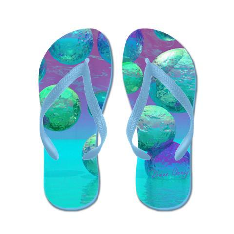 Ocean Dreams - Aqua Violet Flip Flops, vibrant abstract ocean in cyan, aqua, turquoise and purple with enchanting bubbles