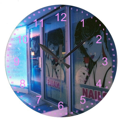 Pink Lucky Nails Clocks