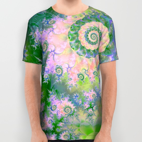 Rose Apple Green Dreams, Abstract Water Garden All Over Print Shirt