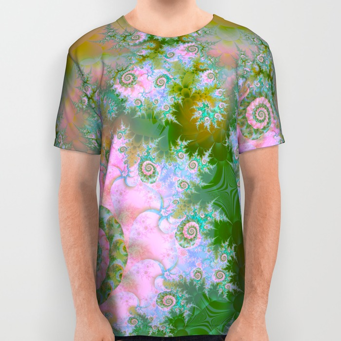 Rose Forest Green, Abstract Pink Swirl Dance All Over Print Shirt