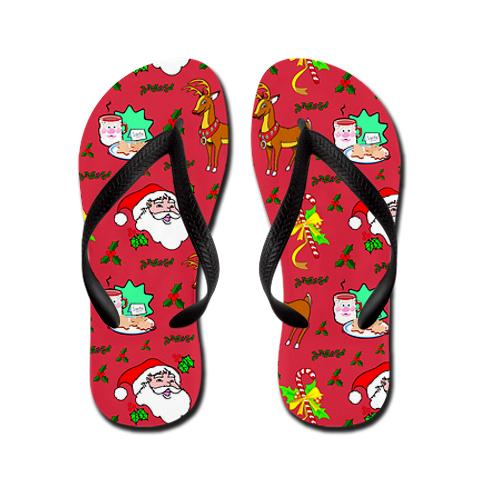 Santa, Reindeer, Cookies and Candy Canes Flip Flops