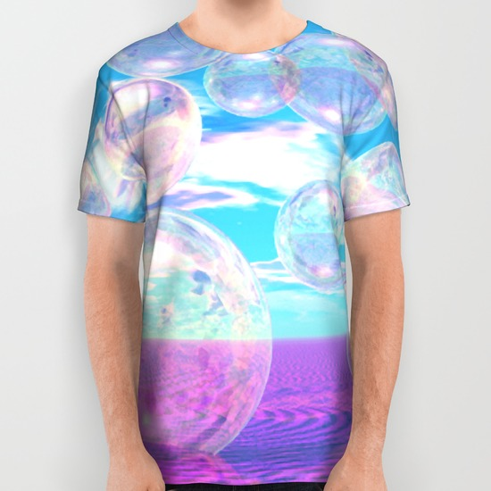 Sky Blue Pink, Abstract Summer Afternoon Watching the Clouds All Over Print Shirt
