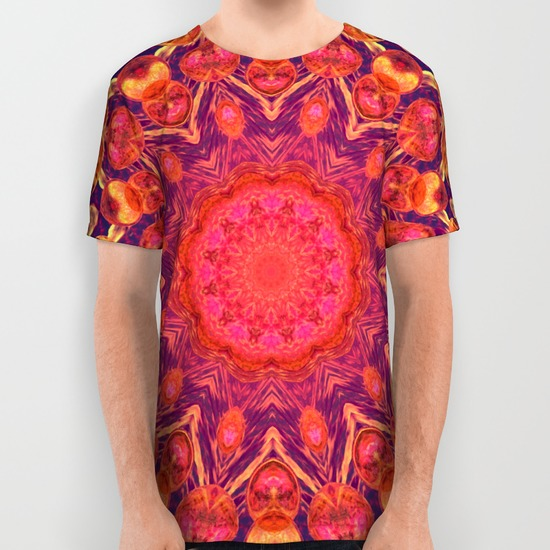 Sunburst Mandala, Abstract Star Circle Dance All Over Print Shirt