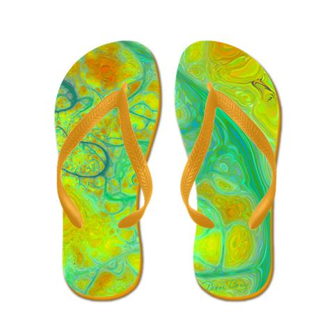 The Green Earth Abstract Lime and Amber Flip Flops Flip Flops, looks like an modern map of rivers