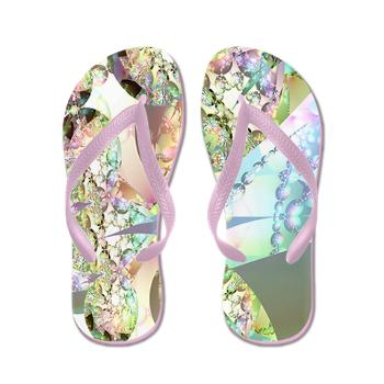 Wings of Angels Amethyst Lavender Crystals Flip Flops, Angelic help, cosmic consciousness, total alignment with the universe is just a breath away, right here, right now.